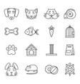 linear icon set of domestic pets and his tools vector image