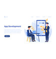 mobile app development concept with developers vector image