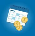 money and calendar coins dollar concept of vector image