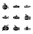 motorboat icons set simple style vector image vector image