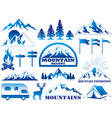 mountain resort and outdoor activities icon set vector image