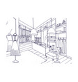 outline drawing of fashionable clothing shop vector image vector image