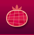 paper pomegranate fruit red vector image vector image