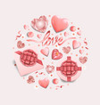 pink objects round pattern for romantic holidays vector image vector image