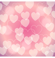 Pink romantic blurred background with bokeh hearts vector image