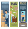 post mail delivery postman work banners vector image vector image