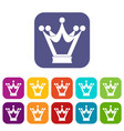 princess crown icons set flat vector image vector image