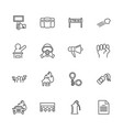 protest - flat line icons vector image