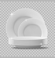 realistic plates stack clean dishes stacked vector image vector image