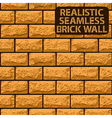 Realistic seamless texture of orange brick wall vector image vector image