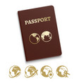 red cover passport and travel vector image vector image