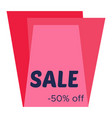 sale sticker with abstract red geometric forms vector image vector image