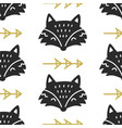scandinavian fox nordic seamless pattern vector image