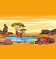 scene with chimpanzee in pond vector image vector image