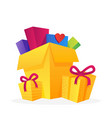 set with big piles colorful wrapped gift boxes vector image