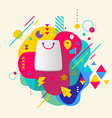 Shopping bag on abstract colorful spotted vector image