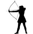 silhouette of a woman with a bow on a white vector image vector image