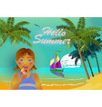 summer on beach girl eating vector image vector image