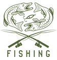 vintage fishing design template with pike vector image vector image