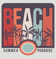 beach with palms in sunset vector image