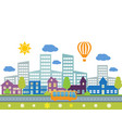 city with building and road vector image