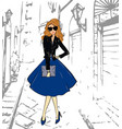 fashionable cute girl in a leather jacket blue vector image