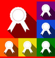 label sign ribbons set of icons with flat vector image