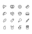 fast food black icon set on white background vector image