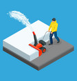 a man cleans snow from sidewalks with snowblower vector image vector image