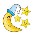 adorable moon with sleep hat and cute stars vector image