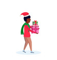 african american man wearing hat carrying gift box vector image vector image