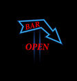 arrow neon sign open bar vector image vector image
