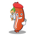 artist sausage character cartoon style vector image vector image