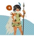 Cartoon cute amazon girl flat mascot vector image vector image