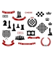 Chess game items icons and design elements vector image