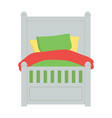 children bed with blanket and pillows bedding vector image