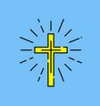christian cross line icon vector image