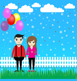 Couple with balloons in the garden vector image