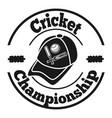 cricket championship logo icon simple style vector image