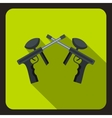 Crossed paintball guns icon flat style vector image vector image