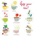 Cups with tea set - berries lemon mint vanilla vector image