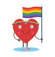 cute single heart manifest with rainbow flag vector image
