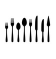 cutlery silhouettes fork spoon knife black icons vector image