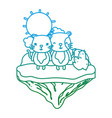 degraded line couple mouse animal in the float vector image vector image