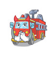 devil fire truck mascot cartoon vector image