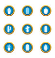 different cactus icons set flat style vector image vector image