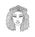 doodle girls face womens portrait for adult vector image vector image