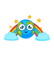 earth planet cartoon character icon smiling vector image