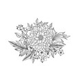 floral bouquet flower engraving retro greeting vector image vector image