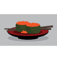 flying fish sushi set japan food vector image